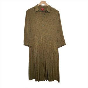 SUNDANCE Olive Green Floral Silk Dress